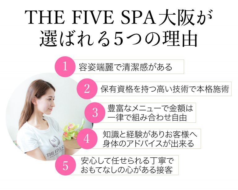 THE FIVE SPA 大阪が選ばれる理由